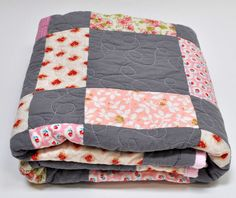 Handmade designer cottage chic pink floral and gray baby girl quilt.