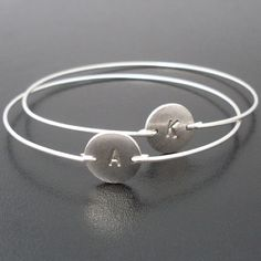 Silver Initial Bracelet Personalized Silver by FrostedWillow, $18.00