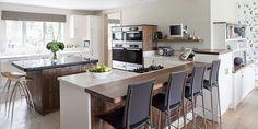 wood and white worktop Kitchen Worktop, Wide Plank, Work Tops, Home Office, Shelving, Hardwood, Walnut Worktops, Bar, Kitchens