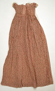 Dress Date: Culture: American Medium: cotton Dimensions: Length at CB: 34 in. cm) Credit Line: Gift of Mrs. Quincy A. Antique Clothing, Historical Clothing, Female Clothing, Regency Dress, Regency Era, Farm Clothes, Vintage Outfits, Vintage Fashion, 19th Century Fashion