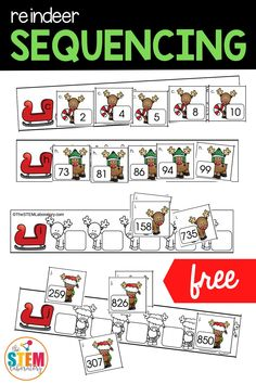 This fun Reindeer Number Sequencing center is great for kids who are learning to order numbers - which makes them perfect for your Pre-K, Kindergarten, 1st Grade, or 2nd Grade math lesson plans. This Christmas themed math activity comes in single digit, double digit, AND triple digit numbers making it so easy to differentiate for students from preschool to second grade!