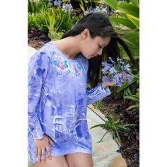 hand painted hawaii ($50) ❤ liked on Polyvore featuring etsyspecialt, hand painted tunic and integritytt