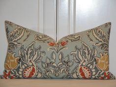 "KRAVET LEUTRON BLUE - Decorative Pillow Cover - 11.5"" x 21""  - Throw Pillow - Accent Pillow - Gray - Tan - Paprika - Seafoam Blue - Lumbar. $38.00, via Etsy."