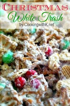Christmas White Trash Printable Recipe  Ingredients: 24 oz. vanilla flavored candy coating (white chocolate almond bark) 6 cups Kellogg's Crispix cereal 3 cups Christmas shaped pretzels 16 oz. M&M Peanut Butter Chocolate Candies, or Peanut Chocolate Candies, or Plain Chocolate Candies in Christmas Colors Directions: In a medium microwave safe bowl, melt white chocolate almond bark in the microwave for 2-4 minutes at 30 SECOND intervals until chocolate is melted; set aside.
