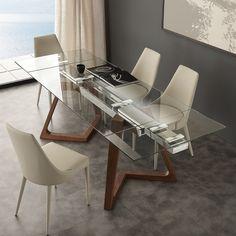 Tavolo+allungabile+Spoleto+in+noce+massello+acciaio+e+piano+in+vetro+