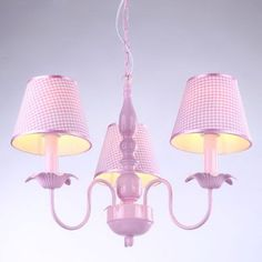 3 Heads Pink Fabric Dining Room Pendant Lamp Creative Iron Study Room Pendant Light Princess Girl's Room Pendant Lamps