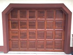 After Picture of a 30 Year Old Redwood Garage Door