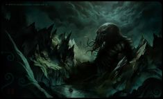 Cthulhu, by zaidoigres. I used this image to imagine the scene at the story's end. The scale of the monster is what interested me.