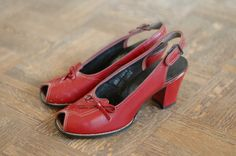 SALE / vintage NOS 1940s red peep toe shoes / by honeytalkvintage, $75.00
