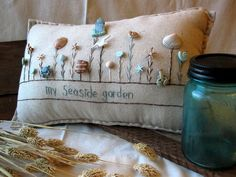 My Seaside Garden Pillow Cottage Style by PillowCottage on Etsy, $25.00