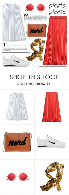 """""""Pretty Pleats"""" by katerin4e-d on Polyvore featuring Lacoste, Marc Jacobs, Les Petits Joueurs, NIKE and Versace"""