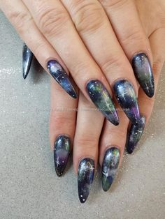 Not a fan of stiletto nails but anyone who knows me, knows I LOOOOVE galaxy so doing this on my short nails!!!! ♥.♥