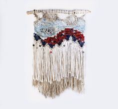 Fringe and Sequins Weaving Woven Wall Hanging by hellohydrangea