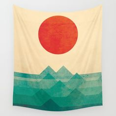 """Wall tapestry by Society6: """"The ocean, the sea and the wave"""" by Picomodi"""