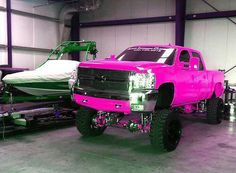 Pink Chevy truck w/ lift! Yes please I'll take it!