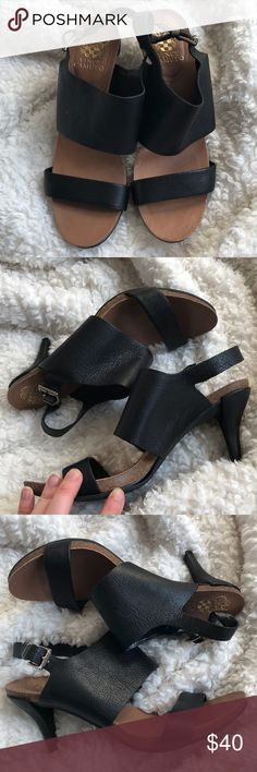 Vince Camino Sandal Heels. Size 9 Adorable black sandals. Great used condition *except* the bottom rubber is separated from the base. I'm looking at repairing it, but for now, priced as marked. See pictures! Vince Camuto Shoes Heels