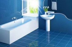Lost in the blue, you'll find the perfect bathroom.