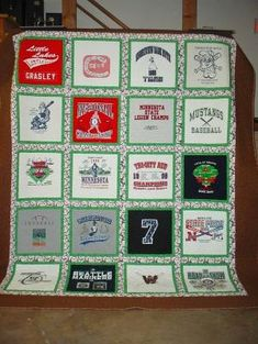 t-shirt quilt ideas Quilting Projects, Quilting Designs, Sewing Projects, Quilt Design, Quilting Ideas, Sewing Ideas, Sewing Crafts, Football Quilt, Jersey Quilt