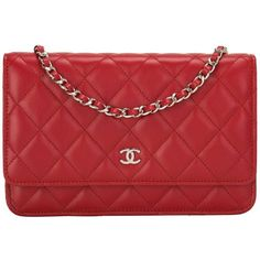 Chanel Red Classic Quilted Lambskin Wallet On Chain (WOC) ($2,680) ❤ liked on Polyvore featuring bags, wallets, chanel bags, red bag, quilted wallet, chain bag and red wallet