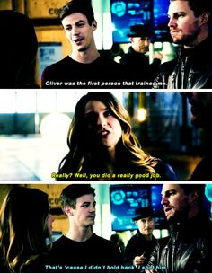 """Oliver was the first person that trained me"" - Barry, HR, Kara and Oliver #TheFlash"