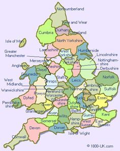 The counties of England - must keep this for future reference.