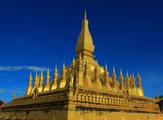 Pha That Luang (Vientiane, Laos) is a gold-covered large Buddhist stupa. Since its initial establishment, suggested to be in the 3rd century, the stupa has undergone several reconstructions as recently as the 1930s due to foreign invasions of the area. It is generally regarded as the most important national monument in Laos and a national symbol. #vientiane http://justgola.com/a/great-sacred-stupa-pha-that-luang-1978048062