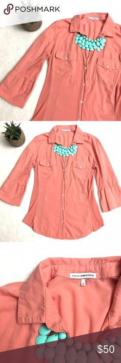 JAMES PERSE Contrast Panel Button Down Shirt Coral JAMES PERSE Contrast Panel Button Down Shirt Coral size 4. Lightweight and super comfortable! Optional roll tab sleeves. Collated V neckline. 100% cotton. James Perse Tops Button Down Shirts
