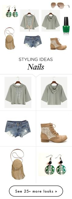 """""""Drawstring Hooded T-shirt"""" by holly32196 on Polyvore featuring American Eagle Outfitters, Latelita, Patricia Nash and OPI"""
