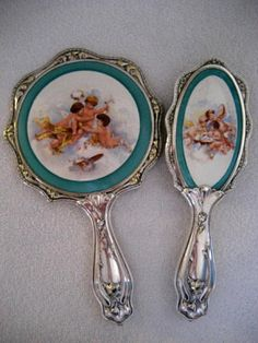 Art Nouveau Vanity Hand Mirror Brush Victorian Cherubs