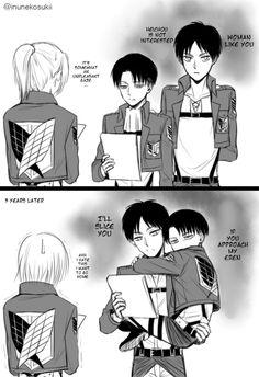 Eren & Levi. I love how small he looks in the second picture