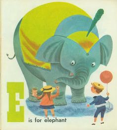 Circus Alphabet illustration by Patric Hudson (1954) - E is for elephant