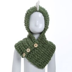 Winter Buttons Cartoon Dinosaur Knitted Hooded Scarf #CLICK! #clothing, #shoes, #jewelry, #women, #men, #hats, #watches