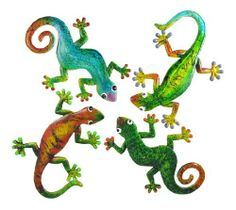 Set Of 4 Brightly Painted Gecko Wall Hangings Lizards by Things2Die4. $39.99. Hand Painted. Cold Cast Resin. Set Of 4. This beautiful set of 4 cold cast resin gecko wall hangings is a great addition to almost any room. The geckos are hand painted with brightly colored enamels to add liveliness to your walls. Each gecko measures 9 1/2 inches long, 6 1/2 inches wide. They make a great gift for gecko fans.
