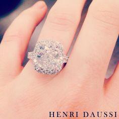 Henri Daussi cushion cut diamond engagement ring.