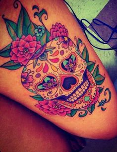 Skull, flowers and amazing colours ~
