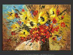 """""""Windy City Bouquet"""" - Original Flower Paintings by Lena Karpinsky, http://www.artbylena.com/original-painting/20549/windy-city-bouquet.html"""