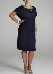 Modest affair or don't know what to wear? You'll look stunning at any event in this gorgeous dress! Short sleeve bodice features a drape neck with a dazzling beaded inset for a intricate focal point. Dress hits just below the knee. Pair with earrings and a sparkling shoe to complete your look. Fully lined. Imported polyester/spandex blend. Hand wash cold. Available in Missy sizes as Style T1311517M1.