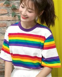 83f71e978a92b Colorful striped t shirt for women short sleeve rainbow t shirts