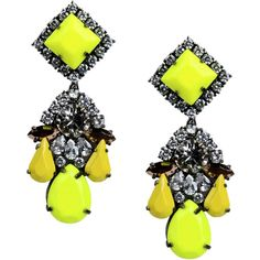 Shourouk Earrings (€185) ❤ liked on Polyvore featuring jewelry, earrings, yellow, metal earrings, shourouk jewelry, yellow jewelry, yellow earrings and metal jewelry