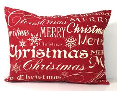CHRISTMAS PILLOW Cover Sale.12x18 or 12x16.Decorative Pillow.Housewares.Red.Red.Red Cushion.Cm..Decoration.Cushion.Merry Christmas.Christmas