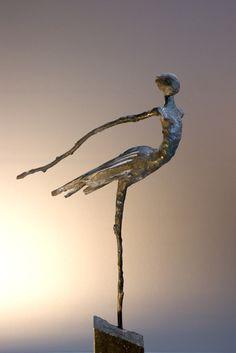 Loes Knoben - Vogelvrouw abstract , contemporary sculpture of a ballerina ....the swan flies up