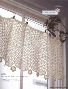 Irish crochet patterns: Elegant Irish lace doilies, scarf, flowers, earrings, necklace and other beautiful designs for your new projects and fun crafts to do at home at Japanese pattern ebook. Filet Crochet, Crochet Motifs, Crochet Lace, Crochet Curtain Pattern, Crochet Curtains, Curtain Patterns, Cafe Curtains, Valance Curtains, Valances