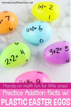 Come discover how your students can practice addition facts with plastic Easter eggs! This activity is perfect for your spring homeschool lessons. #homeschoolprek #preschool #homeschooling #prek #prekathome #preschoolmath #Eastereggs #handsonmath   https://homeschoolpreschool.net/teaching-with-plastic-easter-eggs/