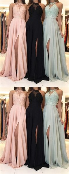 Charming Lace Halter Long Chiffon Split Evening Gowns 2018 Formal Prom Dresses #weddingshoes