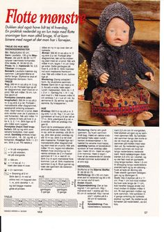 Album Archive - Dukketøj til Baby Born 2 - Ingelise Knitting Dolls Clothes, Doll Clothes Patterns, Doll Patterns, Knitting Patterns, Reborn Dolls, Baby Dolls, Crochet Dolls, Crochet Hats, Pixie