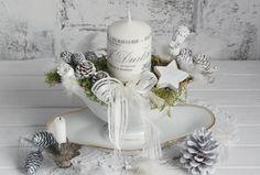 Shabby Adventsgesteck in der Saucière von Lunas VintageART auf DaWanda.com