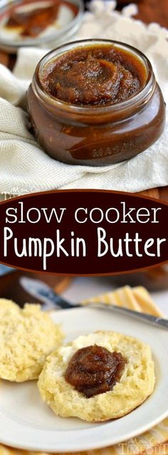 Slow Cooker Pumpkin Butter will rock your world! Buttery, sweet and totally deca… Slow Cooker Pumpkin Butter will rock your world! Buttery, sweet and totally decadent, this pumpkin butter is perfect on biscuits, scones or off of a spoon! // Mom On Timeout Pumpkin Recipes, Fall Recipes, Holiday Recipes, Cooking Pumpkin, Vegan Recipes, Pumpkin Butter, Pumpkin Spice, Pumpkin Puree, Slow Cooking