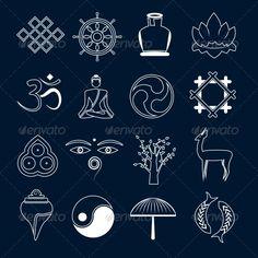 Buddhism Icons Set Outline - Web Elements Vectors