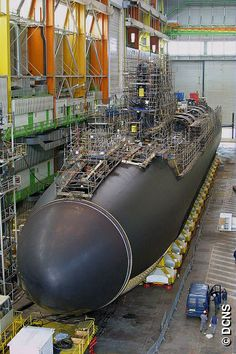 French Marine Nationale SSBN Le Vigilant in DCNS dry dock.
