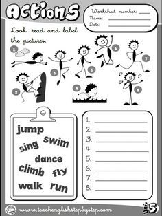 Actions - Worksheet 1 (B&W version) - Bildung English Primary School, Kids English, English Reading, English Tips, English Classroom, English Lessons, Learn English, French Lessons, Spanish Lessons